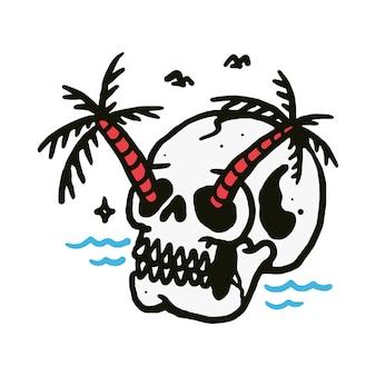 Ilustração de praia de caveira