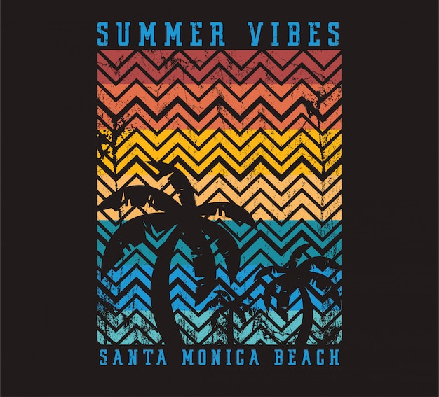 Ilustração de praia de santa monica beach de vibrações de verão