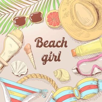 Ilustração de praia desenhada à mão