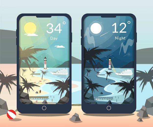 Ilustração de praia dia e noite para aplicativo de clima