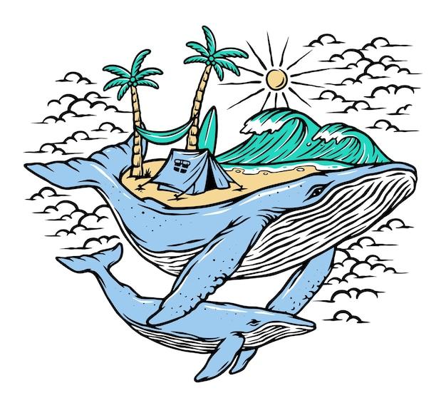 Ilustração de praia e baleias