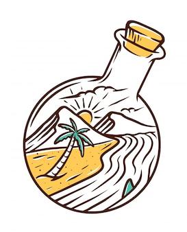 Ilustração de praia e garrafa