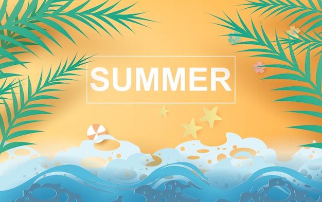 Ilustração de praia e mar de verão