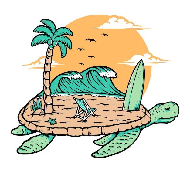 Ilustração de praia e tartaruga