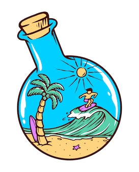 Ilustração de praia em uma garrafa