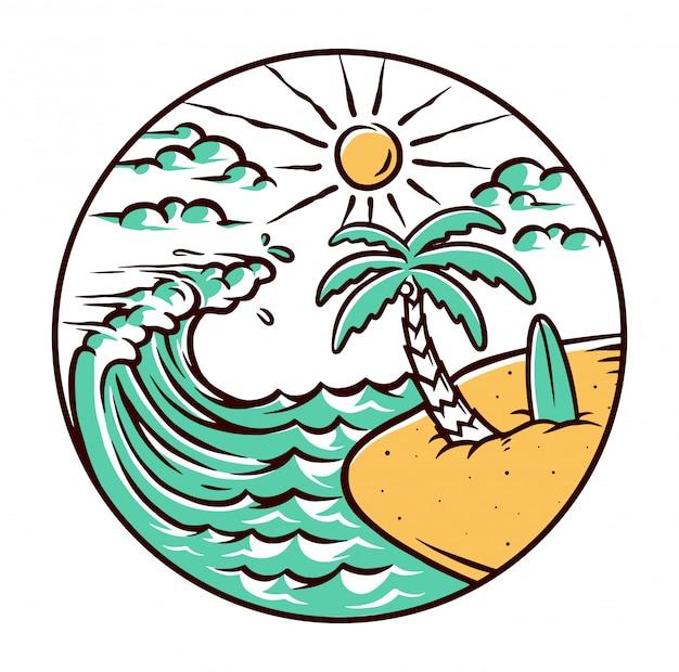 Ilustração de praia natureza