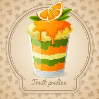 Ilustração de praliné de fruta