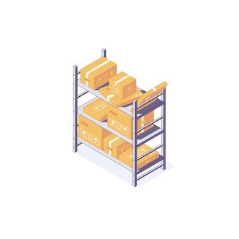 Ilustração de prateleira e palete de equipamento de caixa de armazém isométrica
