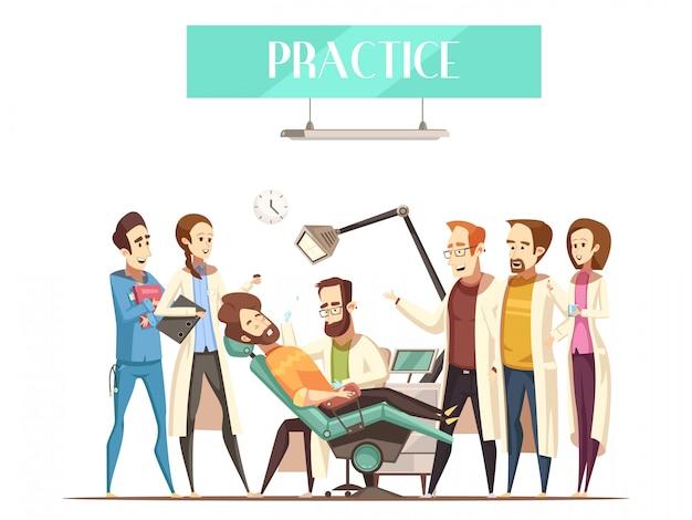 Ilustração de prática de dentista