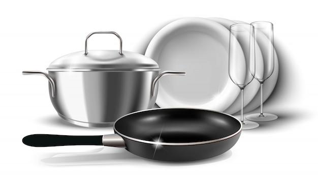 Ilustração de pratos de cozinha, panela e panela com uma tampa. isolado no branco