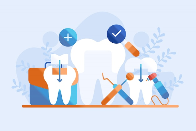 Ilustração de preenchimento dentário