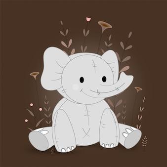 Ilustração de presente com elefante dos desenhos animados