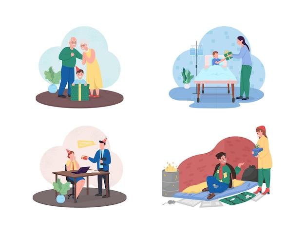 Ilustração de presente de caridade de natal isolada