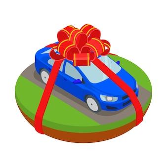 Ilustração de presente de carro em fitas