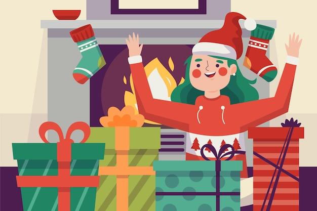 Ilustração de presentes de natal com mulher