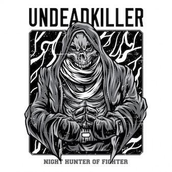 Ilustração de preto e branco de assassino de mortos-vivos