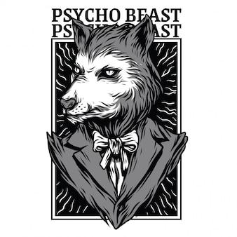Ilustração de preto e branco de besta psicopata