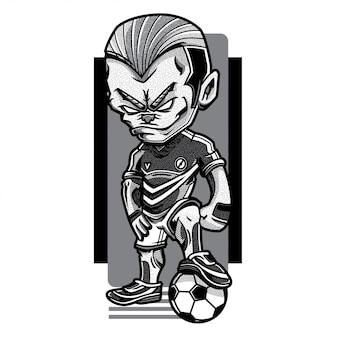 Ilustração de preto e branco de jogo de futebol