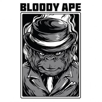 Ilustração de preto e branco de macaco sangrento
