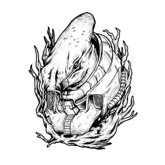 Ilustração de preto e branco de monstro de vingança