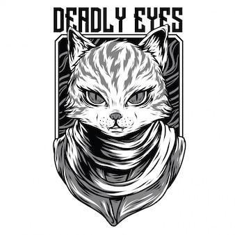 Ilustração de preto e branco de olhos mortais