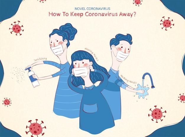 Ilustração de prevenção covid-19