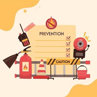 Ilustração de prevenção de incêndio desenhada à mão