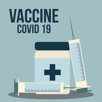 Ilustração de prevenção de vacinas médicas com seringas e frascos