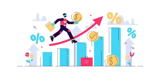 Ilustração de previsão financeira. conceito de pequenas pessoas econômicas.
