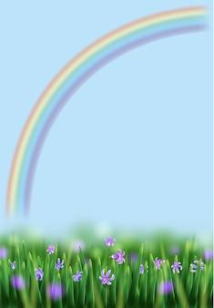 Ilustração de primavera com arco-íris, prado e flores