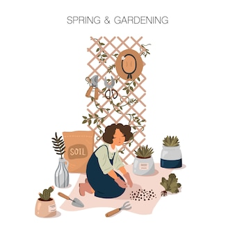Ilustração de primavera e jardinagem em estilo cartoon plana. garota cuidando de plantas. cartaz do jardim em casa.