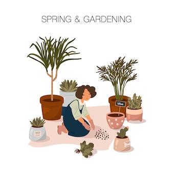 Ilustração de primavera e jardinagem. uma jovem passa tempo plantando plantas de casa em estilo cartoon plana.
