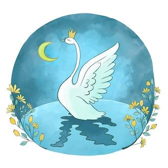 Ilustração de princesa mão desenhada cisne