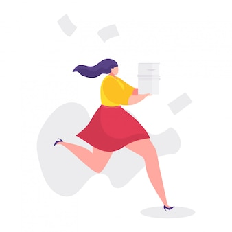 Ilustração de problemas de trabalho, empresária de desenho animado correndo rápido no estresse, horas extras, conceito de falha de prazo em branco