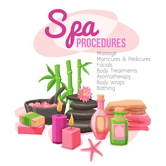 Ilustração de procedimentos de spa