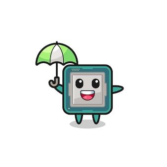 Ilustração de processador fofa segurando um guarda-chuva, design de estilo fofo para camiseta, adesivo, elemento de logotipo
