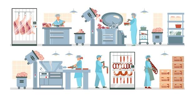 Ilustração de processamento de carne