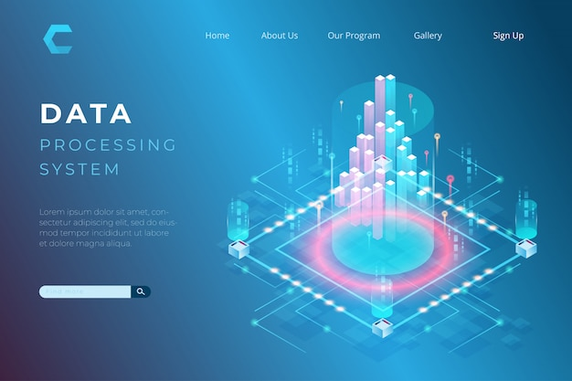 Ilustração de processamento de dados, conceitos de big data, programação em estilo isométrico