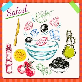 Ilustração de processo de cozimento de salada