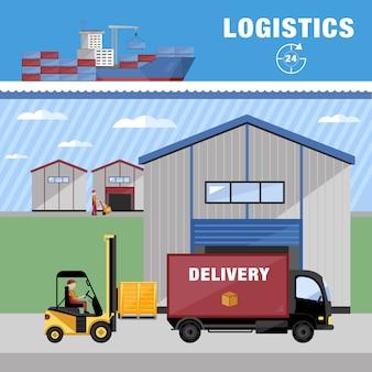 Ilustração de processos de armazenagem e logística