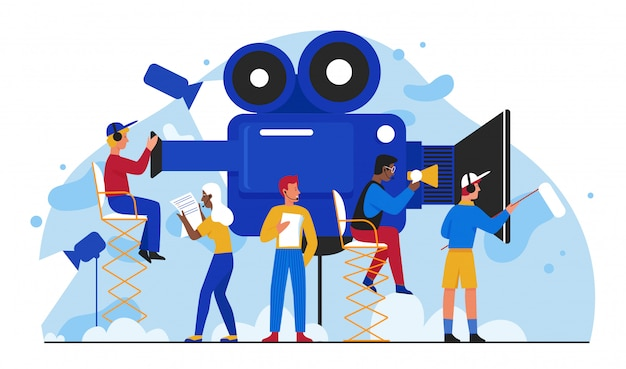 Ilustração de produção de filme de cinema. equipe de pessoas dos cineastas planas dos desenhos animados fazendo filme, pequeno cinegrafista filmando o vídeo em estúdio. indústria de entretenimento visual multimídia isolada no branco