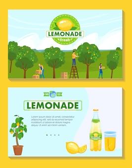 Ilustração de produção de limonada natural.