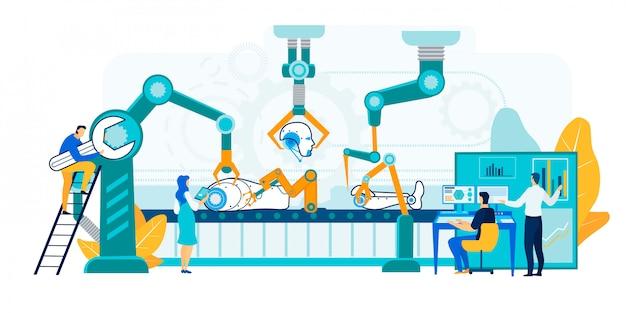 Ilustração de produção de robô.