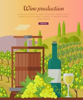 Ilustração de produção de vinho com modelo de texto