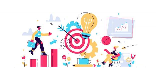 Ilustração de produtividade. conceito de pessoas de eficiência de trabalho minúsculo.