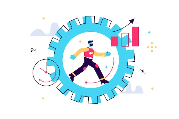 Ilustração de produtividade. conceito de pessoas minúsculas de desempenho no trabalho.
