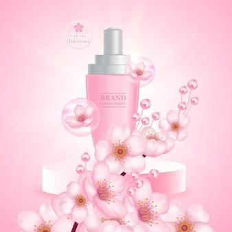 Ilustração de produto de soro creme cherry blossom