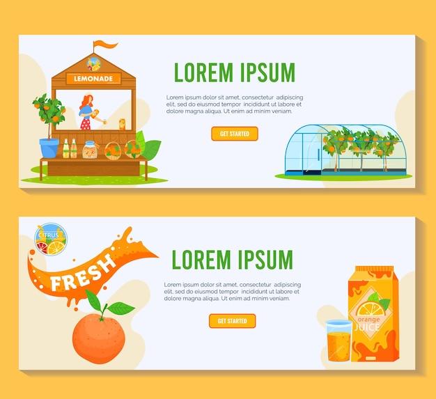 Ilustração de produto de suco de frutas cítricas.