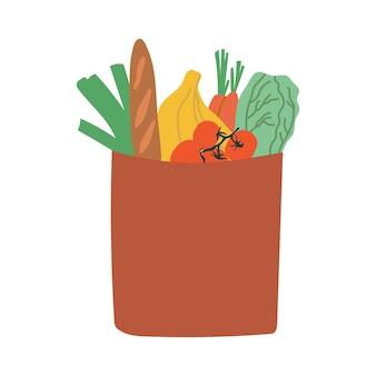 Ilustração de produtos alimentícios em sacola de papel