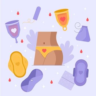 Ilustração de produtos de higiene feminina